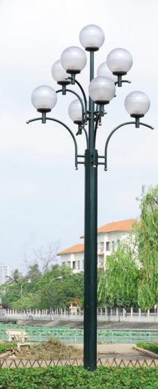 Cột đèn sân vườn DC20 lắp 9 bóng